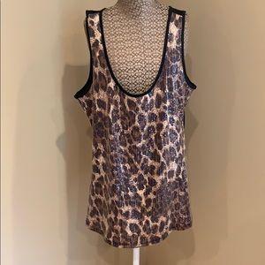 Beautiful Bebe Sequins animal print Top